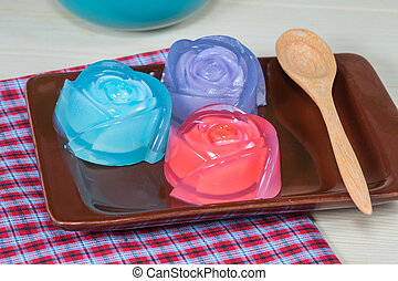 Thailand tradition ,Dessert jelly on plate