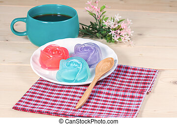 Thailand tradition ,Flower Dessert  Jelly on wood