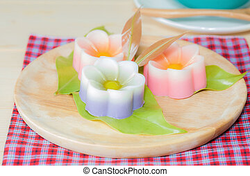 Thailand tradition ,Flower Dessert Coconut Jelly on wood