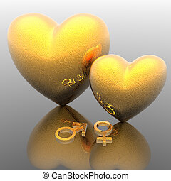 golden love hearts with mars and venus simbol