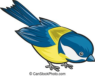 Bird titmouse. Tit. Isolated illustration in vector format