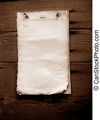 Old paper - Writing old note paper on wood background