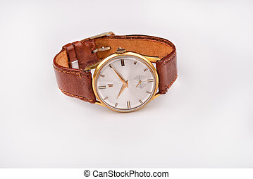 Old classic wristwatch for man with brown strap on white