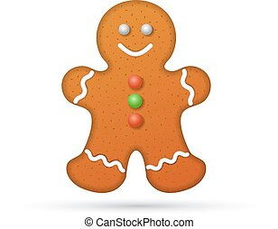 Gingerbread man isolated on white background, illustration.