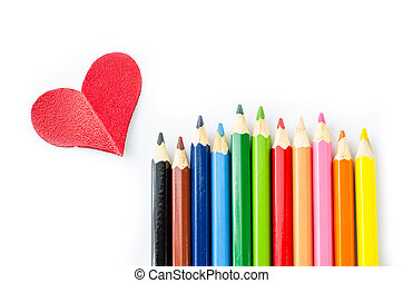 Many pencils color and red heart isolated on white...