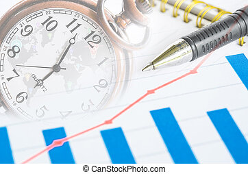 financial charts, graphs and pocket watch with diary