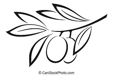 Olive Branch with Berries Black Icon - Olive Branch with...