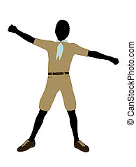 African American Boy Scout Illustration Silhouette
