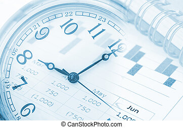 future technology and time management concept - clock,...