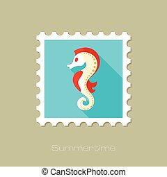 Sea Horse flat stamp with long shadow, eps 10