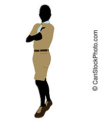 African American Boy Scout Illustration Silhouette - African...