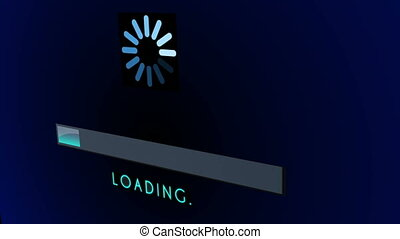 Loading Screen Bar in 3D - 0 to 100 blue loading bar...