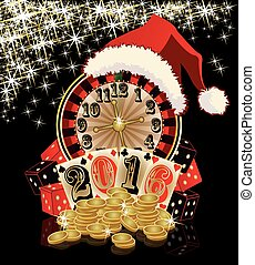 Christmas casino card New 2016 Year - Christmas casino card,...