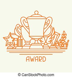 Awards and trophy sport or business background in line...