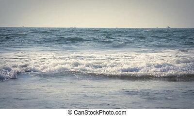 Beautiful Blue Ocean Wave, Goa India. Wind day