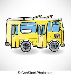 School bus. Vector illustration of a school yellow bus on the road