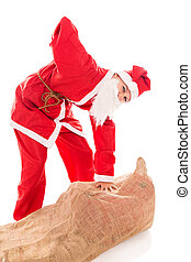 Santa Girl with Backache through too much presents, isolated...