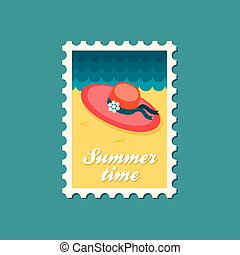 Beach hat flat stamp, summertime - Beach hat flat stamp,...