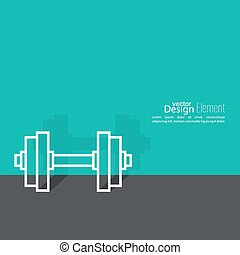 Dumbbells lying on floor with shadow. sport and muscle...