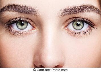 femininas, olho, zona, e, testas, com, Dia, Maquilagem,