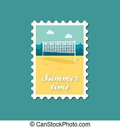 Volleyball net beach sport flat stamp, eps 10
