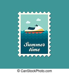 Jet Ski flat stamp, vector illustration eps 10