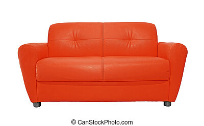 red sofa furniture isolated on white