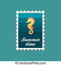 Sea Horse flat stamp, vector illustration eps 10