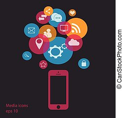 mobile phone social media icons