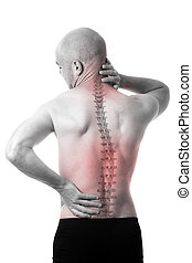 Man feeling pain in the back - View of a man feeling pain in...