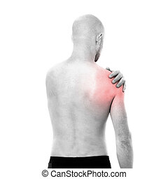 Half-naked man feeling pain in the shoulder - View of...