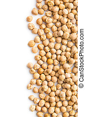 uncooked chickpeas on white background