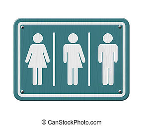 Transgender Sign, Teal and White Sign with a woman, male and...