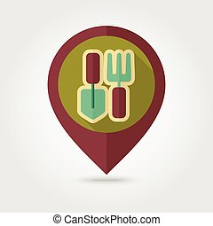 Garden tool flat mapping pin icon with long shadow - Garden...