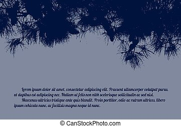 Pine branch tree on blue background with space for your...