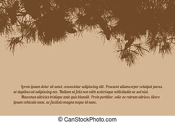 Pine branch tree on retro style background with space for...