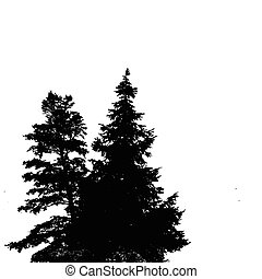 Silhouettes of two pine trees on a white background with...