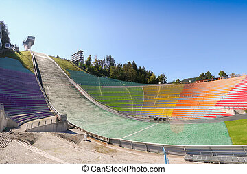 The Bergisel Ski Jump tower, known as Bergisel Schanze,...