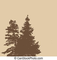 Silhouettes of two pine trees on a retro style background...