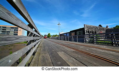 ASTORIA, OREGON - APRIL 27, 2015: Movie of Astoria Trolley...