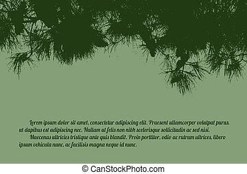 Pine branch tree on green background with space for your...