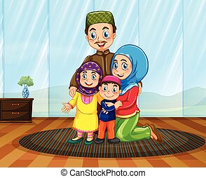 Muslim family in the house