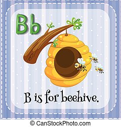 Flashcard letter B is for beehive illustration