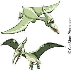 Pterosaur flying in the sky illustration