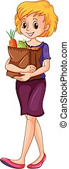 Woman carrying a grocery bag illustration