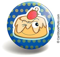 Custard cake on round badge illustration