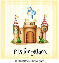 Flashcard alphabet P is for palace illustration