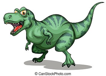 Green tyrannosaurus rex with sharp teeth illustration