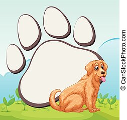 Cute dog and foot print illustration