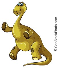 Green brachiosaurus standing on two legs